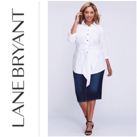 b397a5e2 Lane Bryant Tops - Lane Bryant • Tie Waist White Button Down Tunic
